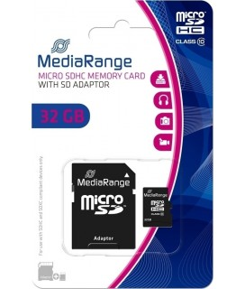 Memory Card Micro SDHC MediaRange 32GB Class 10 + SD Adapter MR959