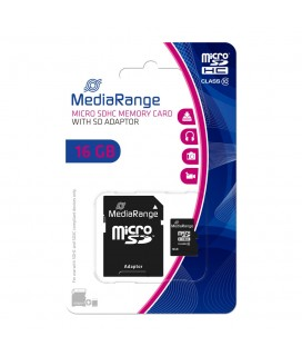 Κάρτα Μνήμης MicroSDHC Class 10 MediaRange 16GB with SD Adapter MR958