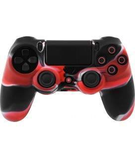 Camouflage Silicone Rubber Skin Grip Cover Case for PS4 Controller (black/Red)