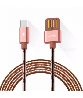 Remax Silver Serpent RC-080a USB / USB Type C Cable with Durable Metal Braid 2.1A 1M silver