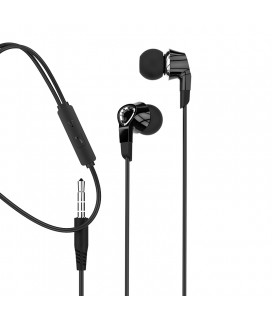 MOXOM MX-EP17 HIFI Audio Music 3.5mm Headphones / Big Bass / Digital Noise Canceling Black