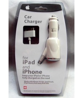 Mini Car Charger Adapter for iPhone/iPod (White) EKA-Q13