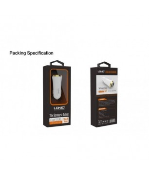 LDNIO DL-C22 Universal USB 2 Port Car Charger Four Colors to Choose(Black with Gold edge)