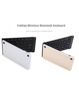 Universal Foldable Bluetooth Keyboard F66 χρώμα Ασημί
