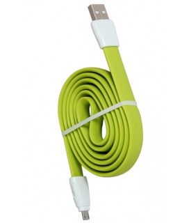 REMAX Micro USB 2.4A Full Speed 2 Flat Charging Data Cable For Cellphone 1M green