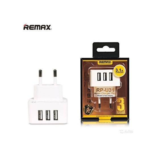 Φορτιστής δικτύου, Remax Moon RP-U31, 5V/3.1A, 3 x USB, άσπρο