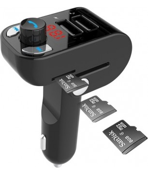 GEMBIRD 3IN1 BLUETOOTH CARKIT WITH FM-RADIO TRANSMITTER & USB 3.1A CHARGER BLACK
