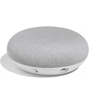 Google Home Mini voice-activated speaker chalk